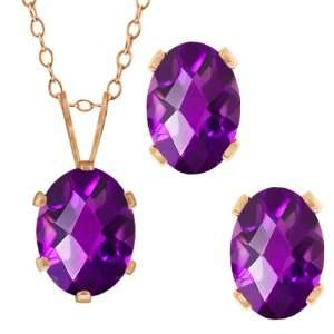 Purple Amethyst Gold Plated Silver Pendant Earrings Set Jewelry
