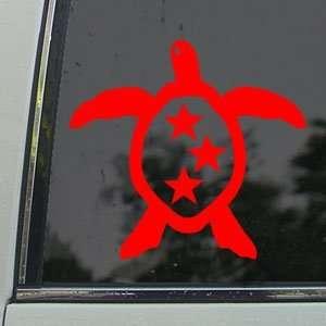 Triple Star Honu Sea Turtle Red Decal Window Red Sticker