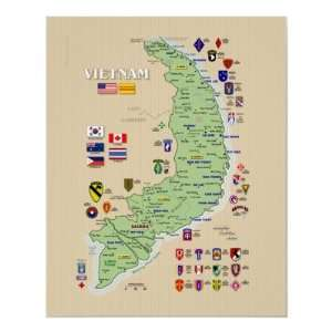 Vietnam Map 1968 Army units Poster