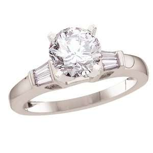 14k White Gold Certified Round Brilliant Center w/ Tapered