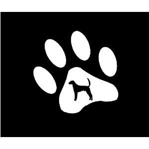 FOX HOUND DOG PAW DECAL WHITE 3635