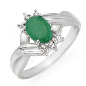 Genuine 0.90 ctw Emerald & Diamond Ring 10K White Gold Jewelry