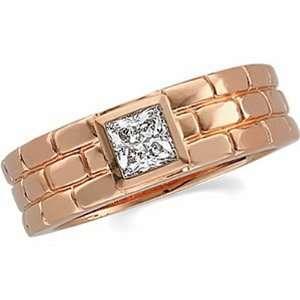 14K Rose Gold Diamond Wedding Band Duo   Gents Ring   0