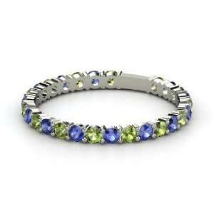 Rich & Thin Band, 14K White Gold Ring with Green Tourmaline & Sapphire