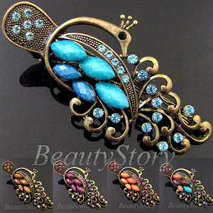 SHIPPING antiqued rhinestone crystals peacock hair clamp clip