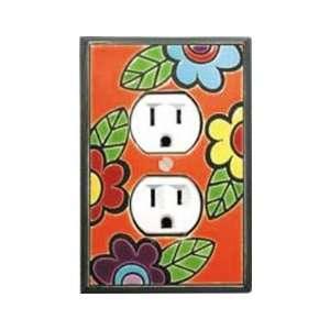 Funky Flower Ceramic Switch Plate / 1 Duplex