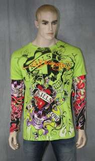 ED Hardy T Shirt Tattoo Sleeve LIME LOVE KILLS SLOWLY