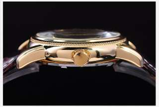KS Black Auto Mechanical Skeleton Lady Men Wrist Watch