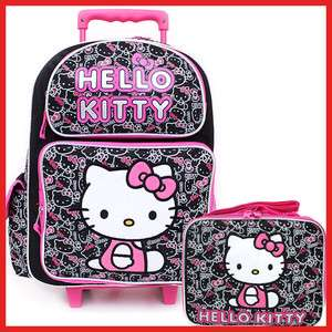 Sanrio Hello Kitty Large Rolling Backpack School Lunch Bag Set Black