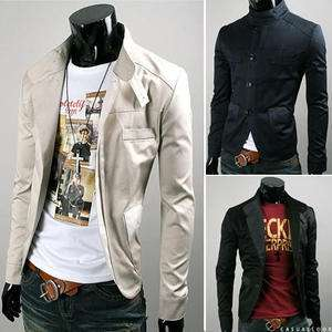 New Mens Close Fitting Sexy Stylish Stand Collar Short Jacket Casual