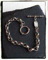 CHUNKY BOLD Sterling Silver 925 Circle Rolo Link Charm Toggle Bracelet