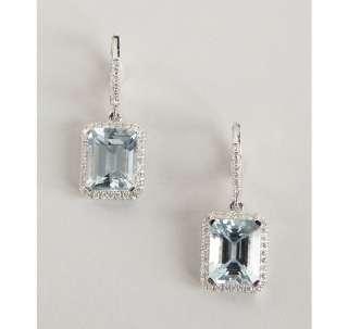 Armadani aquamarine and diamond emerald cut earrings
