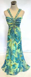 NWT RIVA DESIGNS $620 Turquoise /Multi Prom Ball Gown 6
