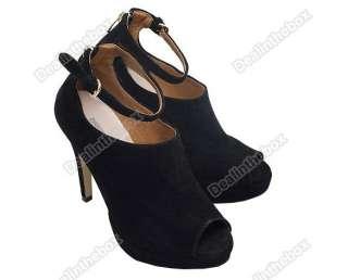 Platform Pumps High Heels Ankle Boots Shoes Black Faux Suede Lace Up