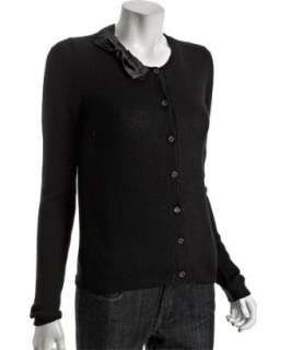 Prada black cashmere bow trim cardigan sweater