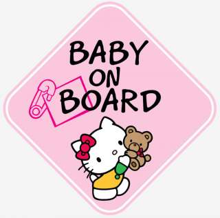 PINK GIRL HELLO KITTY BABY ON BOARD WINDOW DECAL STICKER VINYL