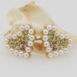 Peridot Swarovski Crystal Pearl Heart Stud Earrings