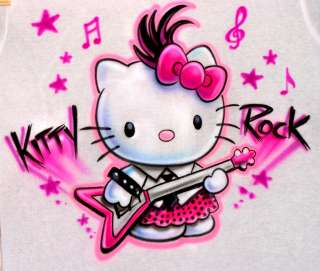 Hello Kitty Rock T Shirt Custom made Personalized Airbrush