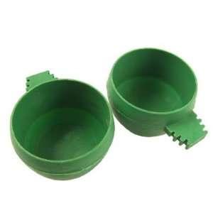 Pcs Dark Green Plastic Feeder Waterer for Canary Gerbil