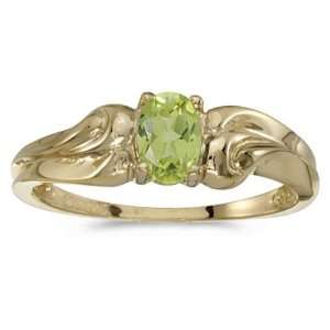 14k Yellow Gold August Birthstone Oval Peridot Ring Jewelry
