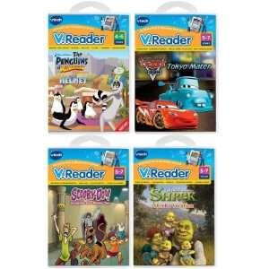 Book 4 Book Bundle Cars, Penguins, Scooby Doo, Shrek Toys & Games