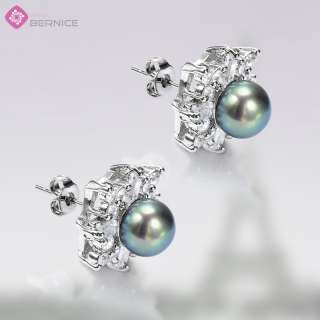 white gold plated stone color black pearl stone cut round stone size