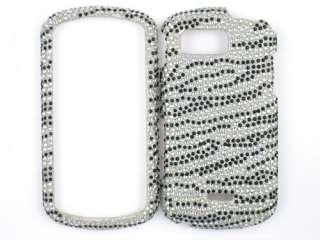 ZEBRA SILVER DIAMOND BLING CASE COVER SAMSUNG MOMENT