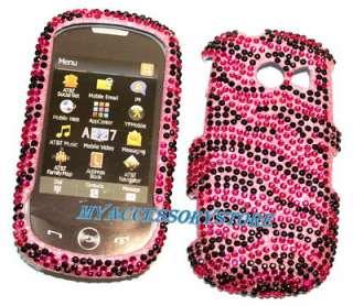 Samsung A927 Flight 2 II Pink Zebra Glitter Jewel Crystal Bling Phone