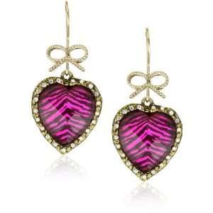 Betsey Johnson Safari Leopard Heart Drop Earrings