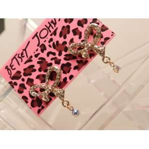 Betsey Johnson Gold Tone Pink Crystal Bow Stud Earrings