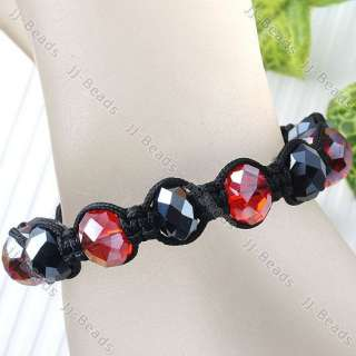 7Color Faceted Crystal Glass Pave Hip Hop Bead Woven Macrame Bracelet