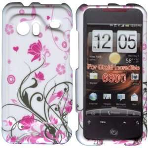 Pink Flower Bk Vines HTC Droid Incredible 6300 Case Cover