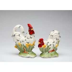 Fine Porcelain Rooster   White & Black Dots Salt and