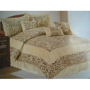 King 7 Pieces Embossed Gold Printing Comforter Set