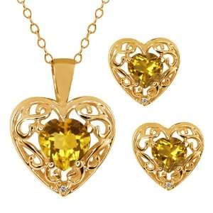 1.68 Ct Heart Shape Yellow Citrine 18k Yellow Gold Pendant