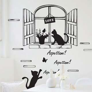 WINDOW & CATS Vinyl Wall Removable Decor Decals GP#110