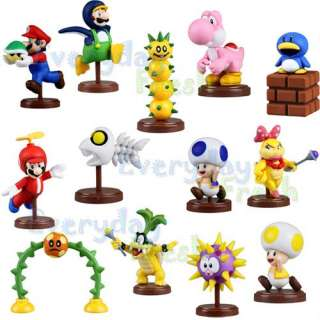 NEW Wii 2011 Super Mario Bros Yoshi Pokey Iggy Koopa 13pcs Figure Set