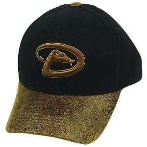 MLB ARIZONA DIAMONDBACKS FAUX LEATHER BILL BLK HAT CAP