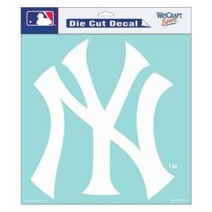 New York Yankees Die Cut Decal   8in x8in White NY Logo