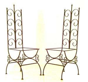 PAIR vtg Mid Century High Back CHAIR Hollywood Regency wrought iron