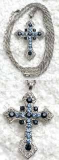 NAVY BLUE RHINESTONE CRYSTAL CROSS PENDANT NECKLACE E107