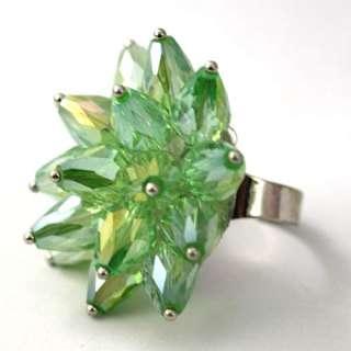 d8404 Ladys Cyan Teardrop Crystal Glass Beads Adjustable Cooktail