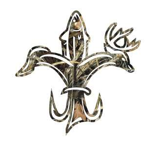 click to open supersize image duck fish deer fleur de lis camo die cut