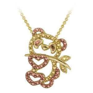 Rose Gold over Silver Champagne Diamond Panda Bear Necklace Jewelry