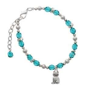 2 D Silver Fat Cat Teal Czech Glass Beaded Charm Bracelet