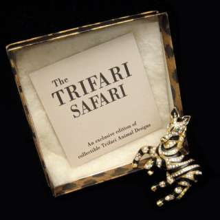 TRIFARI Safari Zebra Brooch Pin Goldtone Black Enamel Rhinestones Mint