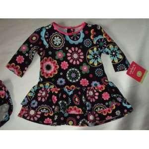 Play L/S Cotton Knit Black Kaleidoscope Print Dress Set   12 Months