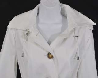 NEW Michael Kors Womens Hooded Trench Coat Belt White Size Small