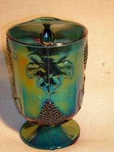 Vintage Carnival Glass Iridescent Blue Green Harvest Grapes & Leaf