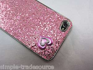 Pink Heart Glitter Bling Back Case Cover Protector for iPhone 4 4G AT